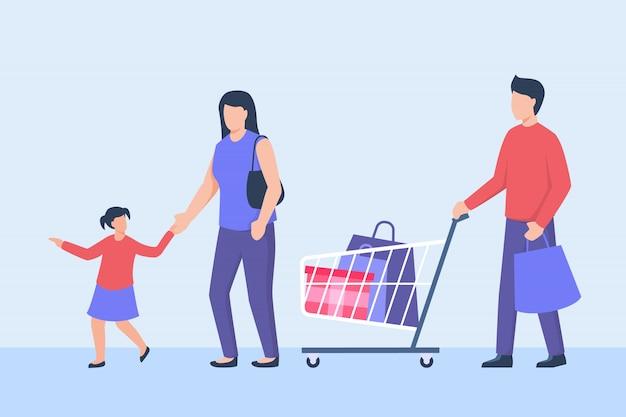 Família de compras com pai mãe e filha com carrinho de carrinho