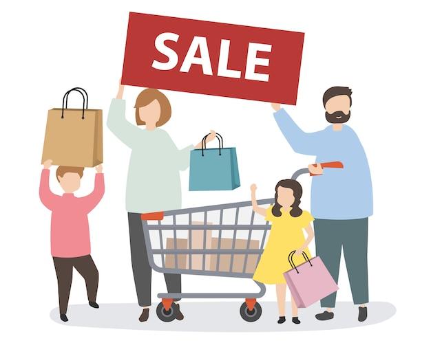 Família de compras com um carrinho de compras
