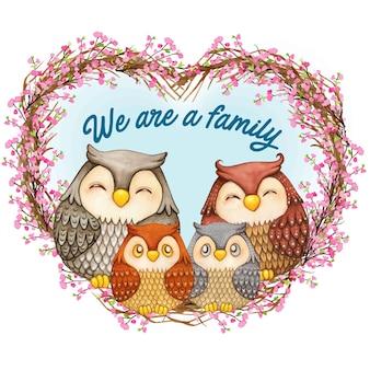 Família de coruja bonita em aquarela em uma coroa de flores