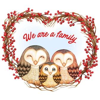 Família de corujas fofas em aquarela em uma coroa de flores