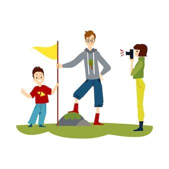 Família de desenho animado caminhando homem em pose orgulhosa, colocando uma bandeira na rocha