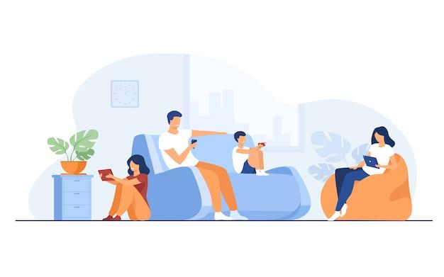 Família de desenho animado sentada em casa com gadgets