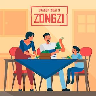 Família de design plano comendo zongzi
