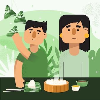 Família de design plano preparando zongzi