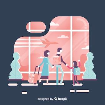 Família de design plano viajando fundo