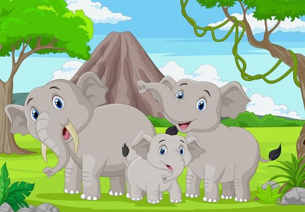 Família de elefantes dos desenhos animados na selva