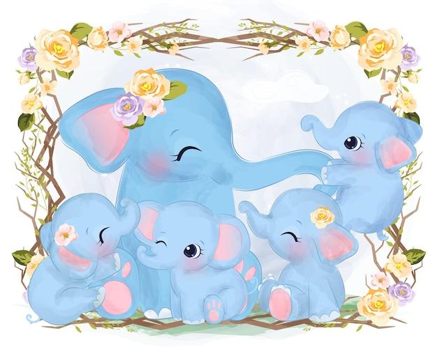 Família de elefantes fofos em aquarela com flores