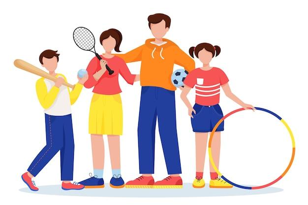 Família de esportes mulher com raquete de tênis homem com bola de futebol menina com arco e menino com taco