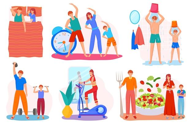 Família de estilo de vida saudável junto com crianças