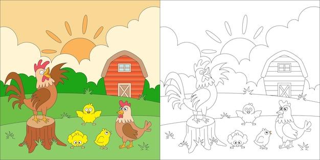 Família de frango para colorir