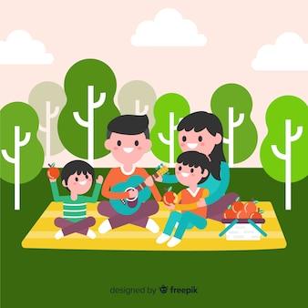 Família de fundo fazendo um piquenique