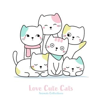 Família de gato fofo mão animal desenhado estilo