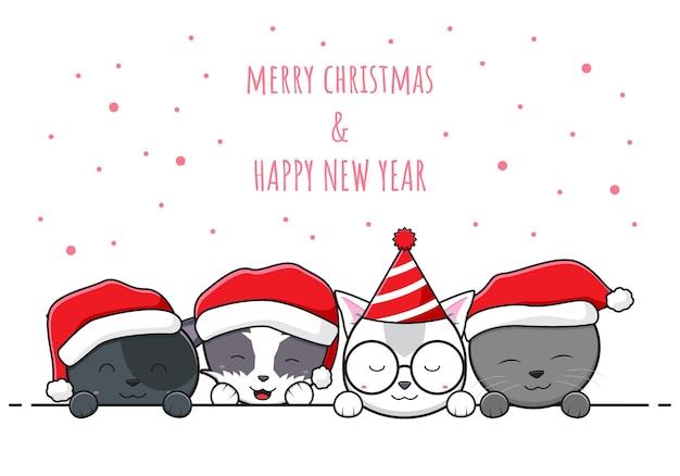 Família de gatos fofos cumprimentando feliz natal e feliz ano novo desenho animado doodle fundo de cartão