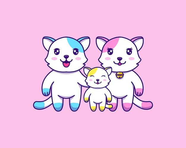Família de gatos fofos