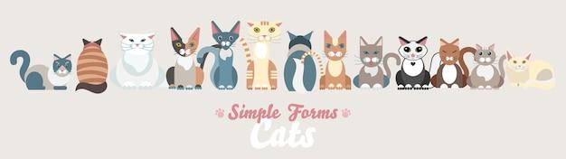 Família de gatos planos isolados conjunto ilustração dos desenhos animados