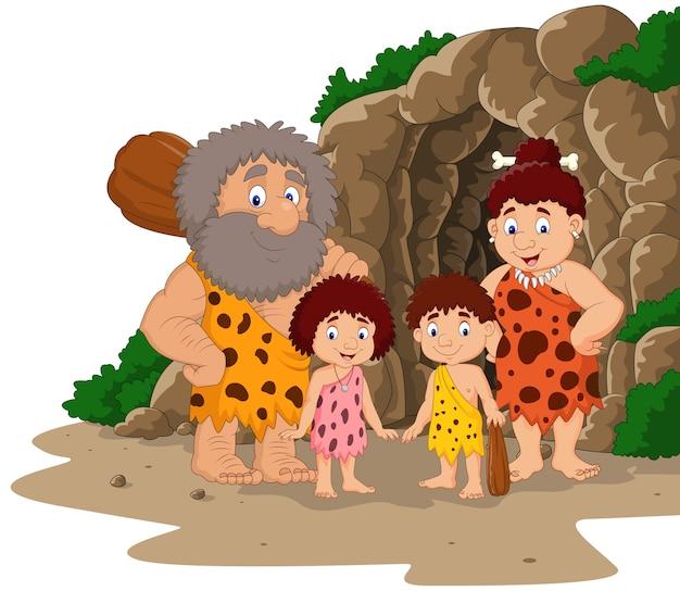 Família de homem das cavernas dos desenhos animados com fundo de caverna
