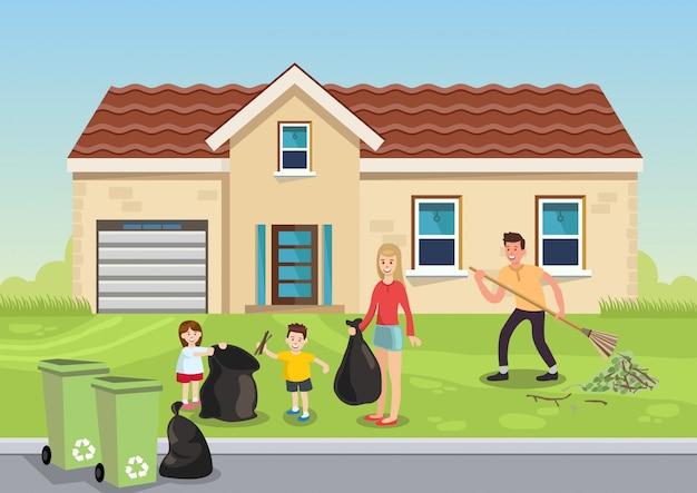 Família de ilustração dos desenhos animados remove folhas