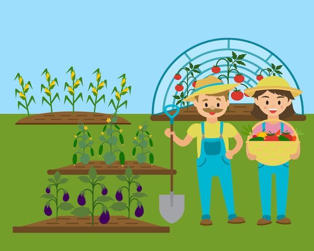 Família de jardineiro, jardim rural com legumes ecológicos.