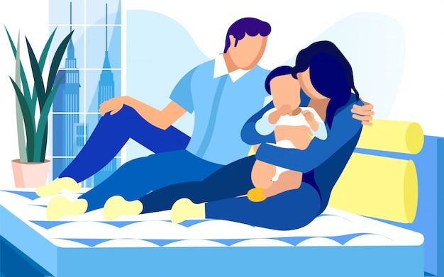 Família de jovem com bebê na cama com colchão confortável. Vetor Premium