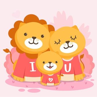 Família de leões feliz posando junto com o texto eu te amo