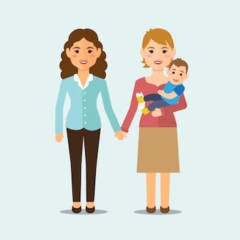 Família de lésbicas com criança