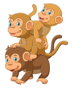 Família de macaco feliz com seus dois bebês