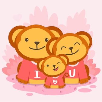Família de macacos felizes posando junto com o texto eu te amo