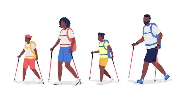 Família de mochileiros em caminhadas com personagens vetoriais de cor semi-plana