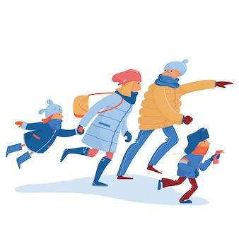 Família de pai, mãe e filhos em roupas quentes, correndo, correndo, correndo rápido para fazer compras, ônibus, trem, chegar atrasado