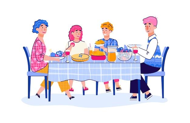 Família de pais e filhos adolescentes almoçando desenho animado