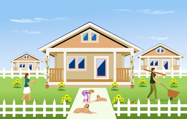 Família de pais e filhos limpar o jardim em frente da casa