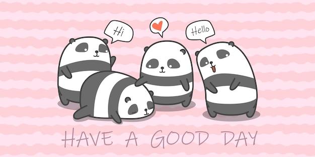 Família de panda em estilo cartoon.