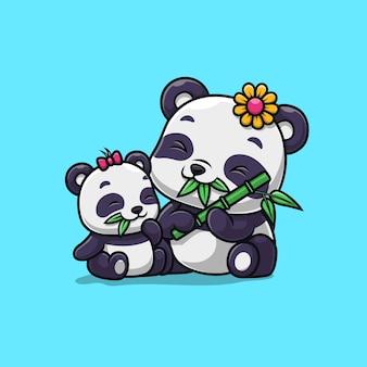 Família de pandas fofos comendo bambu isolado no azul