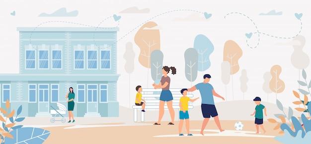 Família de panfleto de publicidade brincando ao ar livre juntos