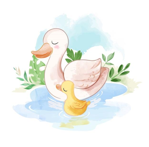 Família de pato na ilustração da lagoa