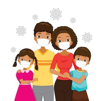 Família de pele escura usando máscaras faciais para prevenir a doença de coronavírus, vírus covid-19 e poluições, proteção à saúde