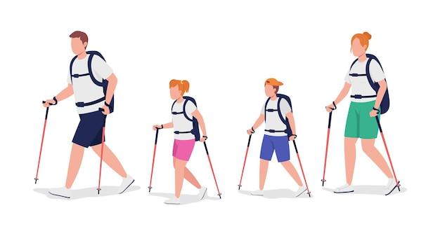 Família de personagens de vetor de cor semi-plana de caminhantes