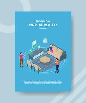 Família de pessoas de realidade virtual de tecnologia usando vidro vr na sala de estar
