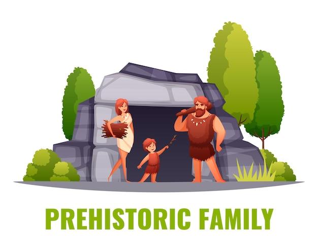 Família de pessoas pré-históricas em frente à ilustração plana da entrada da caverna