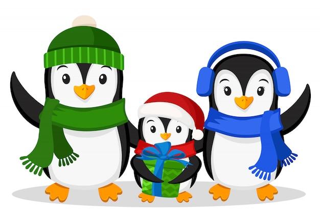 Família de pinguins e o pinguim pequeno com um presente no fundo branco. personagens de natal