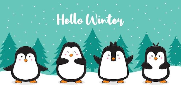 Família de pinguins fofos com neve cumprimentando olá, desenho animado de inverno cartão de fundo