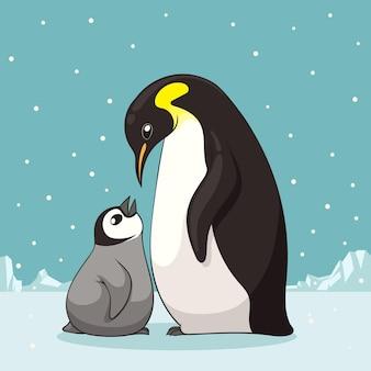 Família de pinguins na ilustração do estilo cartoon