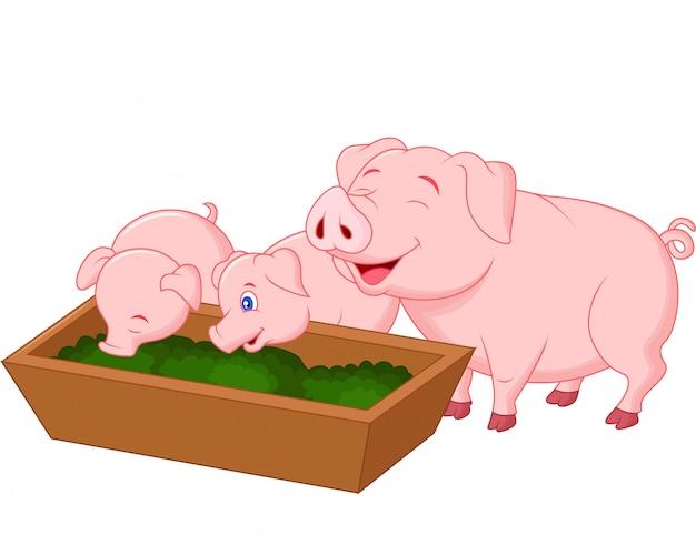 Família de porco fazenda feliz
