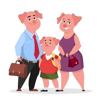Família de porco feliz com roupas. mãe, pai e filho