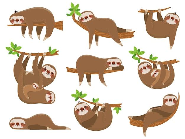 Família de preguiças dos desenhos animados