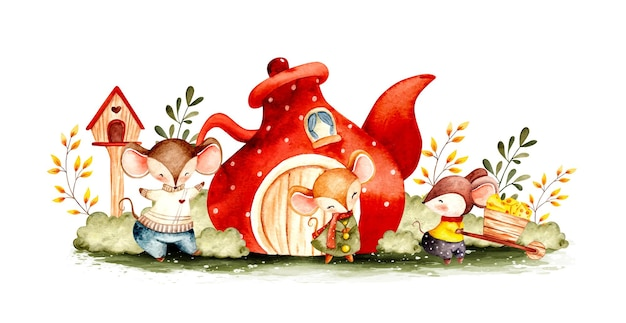 Família de ratos aquarela no jardim