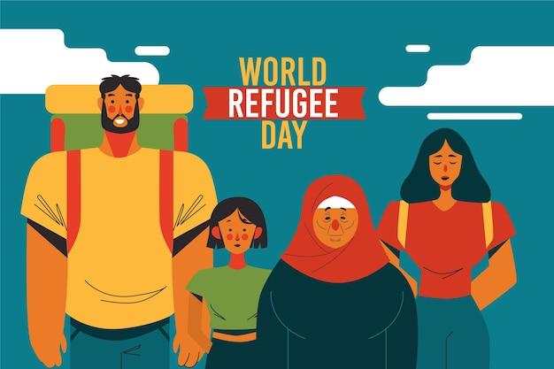 Família de refugiados caminhando juntos fora