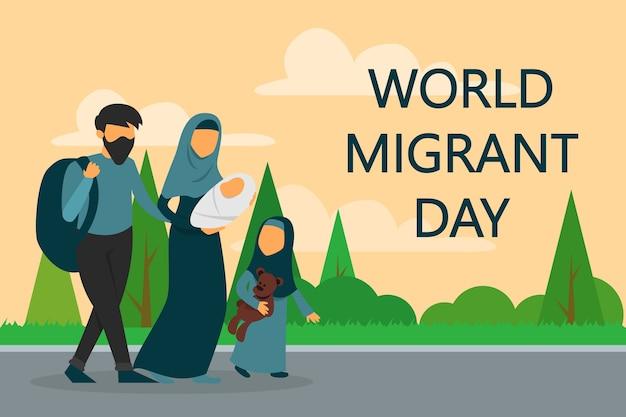 Família de refugiados caminhando na estrada. dia mundial do migrante.