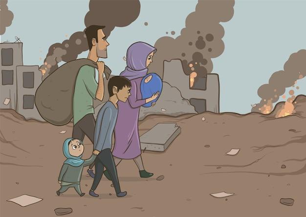 Família de refugiados com dois filhos em edifícios destruídos. religião de imigração e tema social. crise da guerra e imigração. personagens de desenhos animados de ilustração vetorial horizontal.