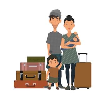 Família de refugiados com malas de viagem em um fundo branco. família sem-teto com as últimas novidades.
